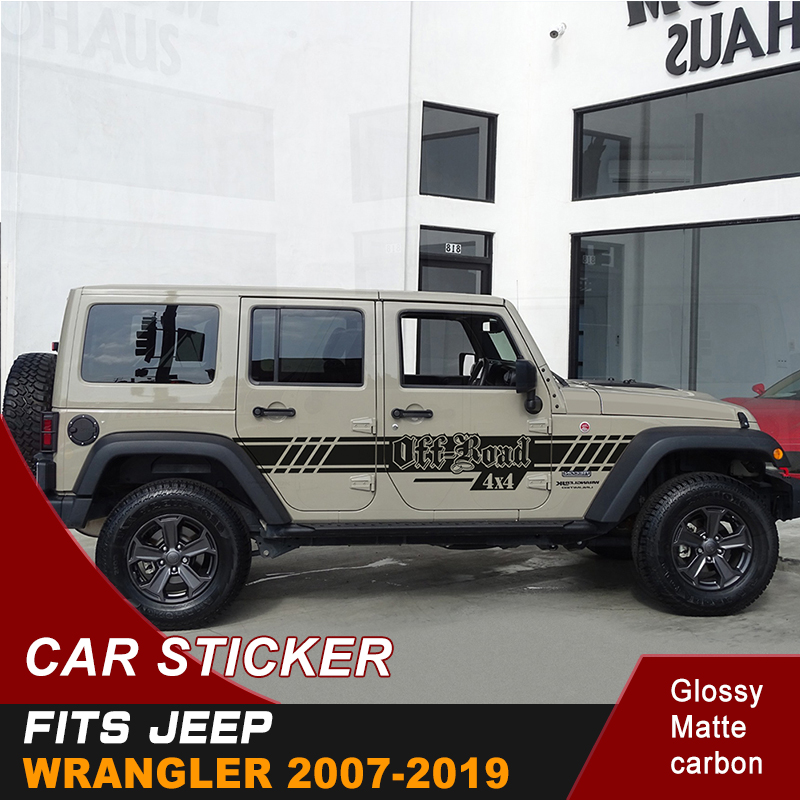 Car <font><b>Stickers</b></font> Fit For Jeep Wrangler 2007-2019 Side Door Stripe <font><b>4X4</b></font> <font><b>Off</b></font> <font><b>Road</b></font> Graphic Vinyl Modified Decoration Car Decals Custom image