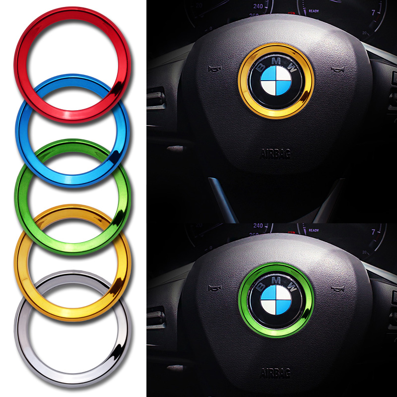 Car-styling ABS steering wheel trim decorative center emblem frame sticker for BMW M E30 E34 E36 E39 E46 E60 E87 E90 F10 F20 F30 image