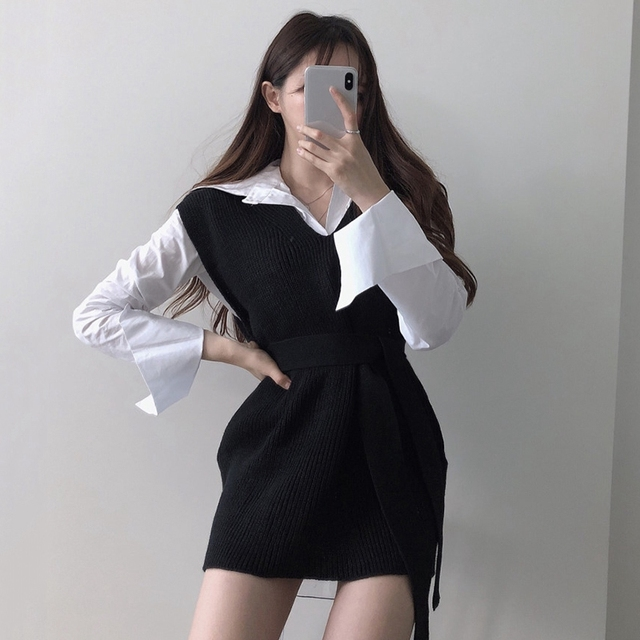 RICININA Knitted Vest Women Sweater Sleeveless V Neck Sashes Bandage Solid Elegant Sweaters Women Pullovers Jumpers Woman 2020 8