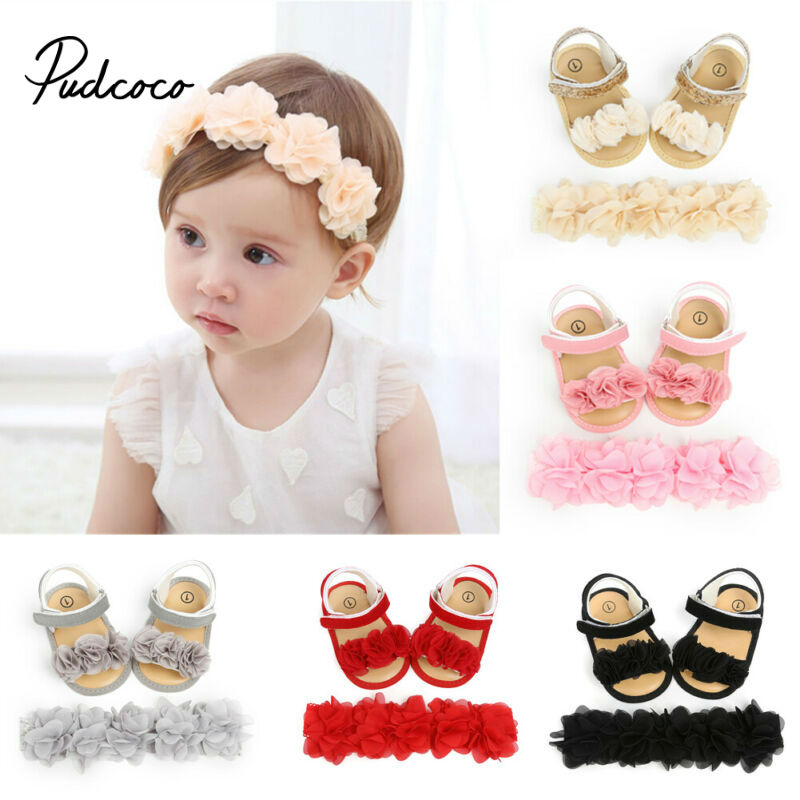 2020 Brand New Newborn Infant Baby Girls Summer Crib Shoes First Walkers Floral Flat Hook Princess Shoes+Headband Princess 2PCS