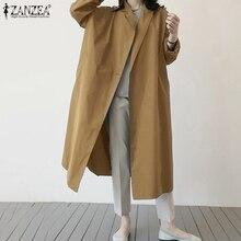 Windbreaker Trench ZANZEA Coat Cloak Oversized Autumn Elegant Women's Ladies 5XL Lapel