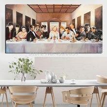 Hollywood legends última ceia cartaz marilynes monroes pintura a óleo cartaz da arte da parede para sala de estar decoração