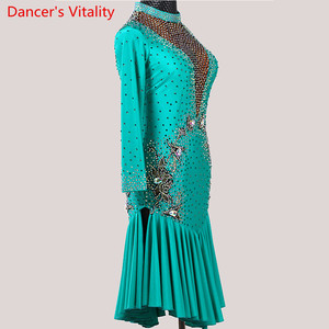 Image 3 - Latin Dance Performance Costume Adult Women High end Professional Racing V Neck Backless Dress Rumba Tango Dancing Stage Wear