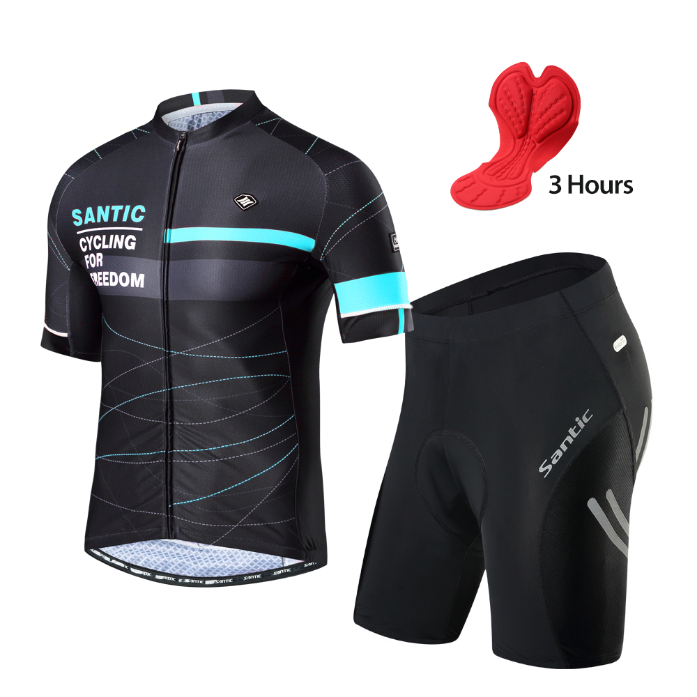 Santic Men Cycling Suits Cycling shorts Jersey Sets Summer MTB Bicycle Cycling Clothing Mountain <font><b>Bike</b></font> <font><b>Wear</b></font> Clothes image