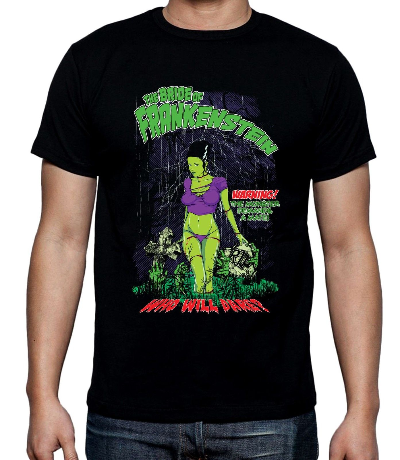Bride of Frankenstein Who Will Dare Men 39 s T Shirt Halloween Horror Film Cartoon t shirt men Unisex New Fashion tshirt in T Shirts from Men 39 s Clothing