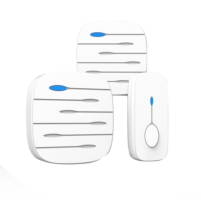 ABKT-LED Smart Doorbell Waterproof 300M Remote Mini Wireless Door Bell 52 Chimes 20-80DB Door Ring(EU Plug)