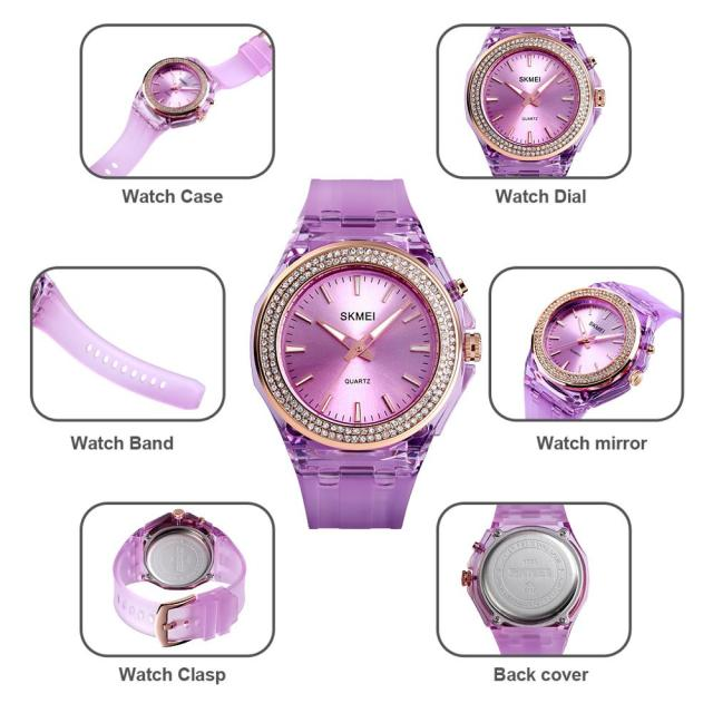 Lady Transparent Strap Quartz LED Backlight Diamond 5Bar Waterproof Watch