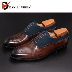 Image 1 - ผู้ชายรองเท้าหนังงานแต่งงานทำด้วยมือผสมสี Brogue อย่างเป็นทางการรอบ Toe Oxford รองเท้าบุรุษ