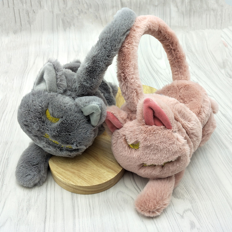 Cartoon Tails Earmuff Female Japanese Style Pure Color Winter Warm Lovely Plush Imitation Rabbit Fur Students Embroidery Earmuff