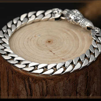 Chain Link Snake head Bracelet For Men Women Lover 8mm Width Solid 925 Sterling Silver Biker Gift Fashion Jewelry - DISCOUNT ITEM  10 OFF Jewelry & Accessories