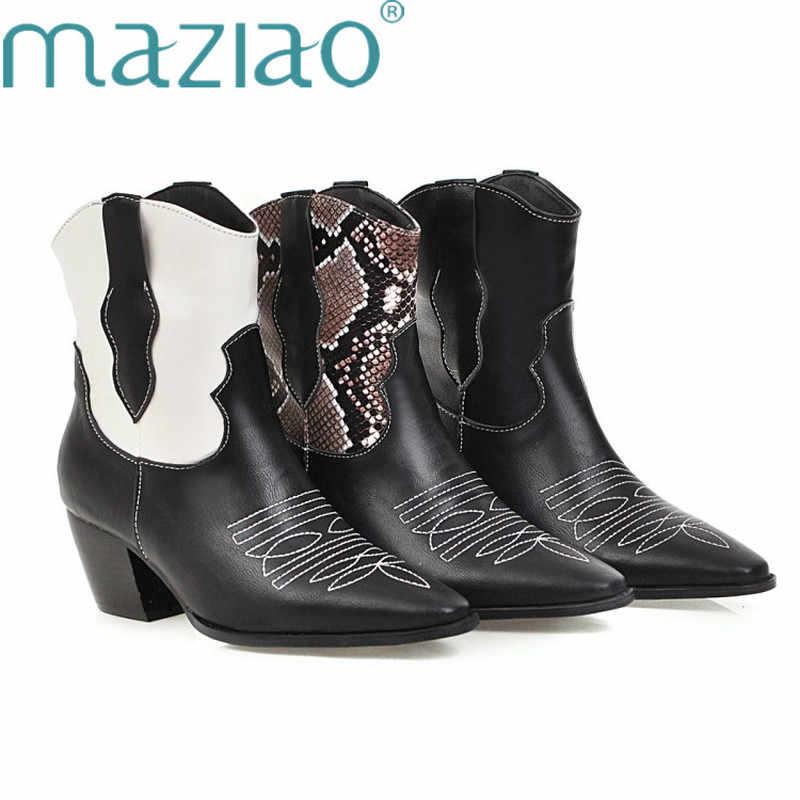 Cowgirl çizmeler kadın ayakkabıları kış batı kovboy yarım çizmeler sivri burun kama yüksek topuk çizmeler yılan baskı beyaz çizmeler MAZIAO