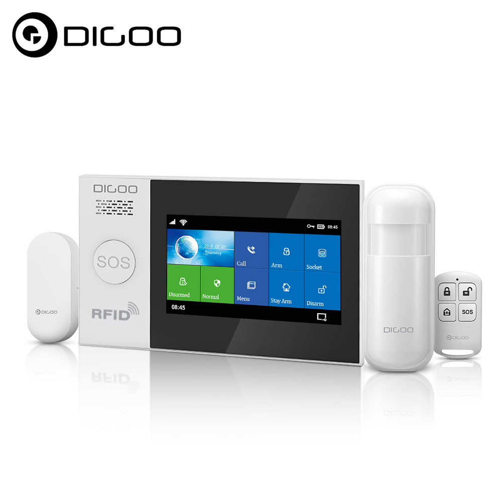 DIGOO DG-HAMB 2G&WIFI&433MHZ DIY Smart Home Security Alarm System Kits 4.3Inch Full Color Capacitance Touch Screen APP Powered
