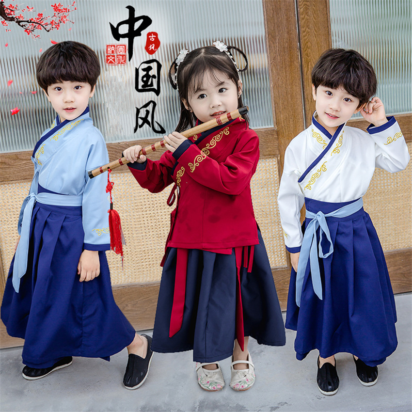 New Year Boys Tang Suit Traditional Chinese Clothing Kung Fu Oufit 2020 Long Sleeve Festival Stage Performance Costumes