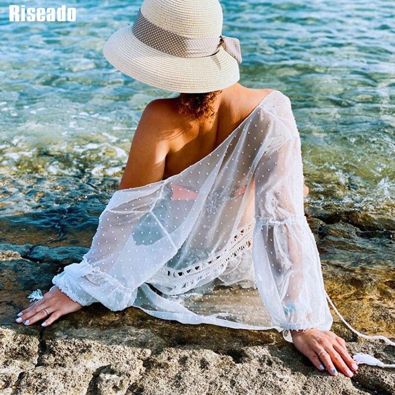 Riseado New Long Sleeved Beach Dress Sexy Swimwear Women Cover Ups Solid Belted Swimsuit Hollow Beach Wear Summer