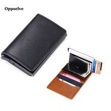 Billetera de cuero RFID con interruptor de bloqueo, funda deslizante de aleación automática, tarjetero Pop-Up, Protector de tarjeta bancaria de negocios