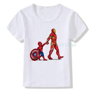 Children Cartoon Iron Man Spiderman Shield Print T shirt Funny Avengers Design Short Sleeve Summer T-shirt Kids O-neck Tshirt(China)