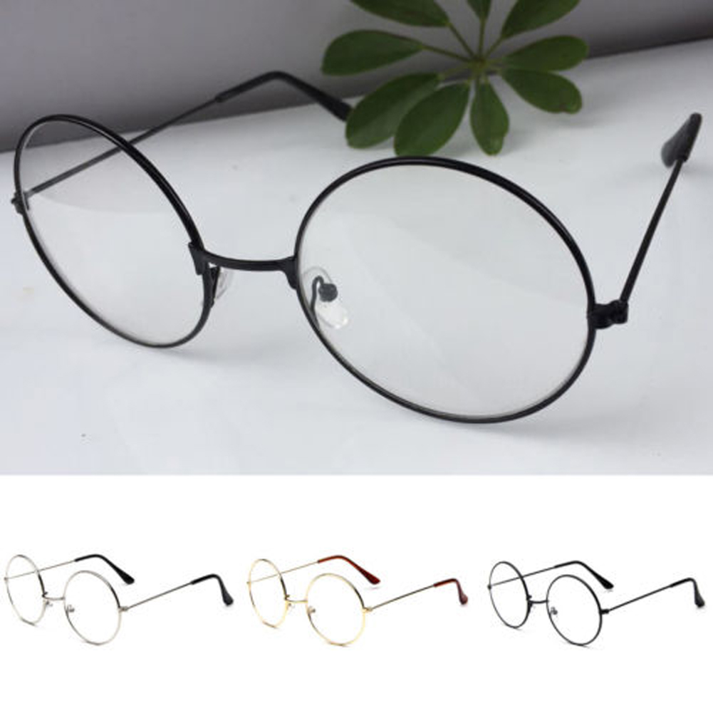 Korean Women Men Round Glasses Large Oversized Metal Frame Clear Lens Round Circle Eye Glasses Unisex Casual Harajuku Eyeglasses