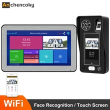 Anchencoky Wifi kablosuz 10 inç Video interkom sistemi ile yüz tanıma parmak izi kilidini 1080P görüntülü kapı telefonu kapı zili