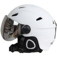 Полупокрытый лыжный шлем с очками козырек сноуборд шлем Зимний снег сани скутер шлем маска мото снегоход Capacete