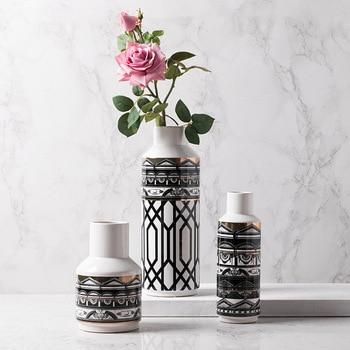 Modern Black And White Crossed Lines Ceramic Floor Dried Flower Arrangement Decoration Living Room Decoration Monka Vase