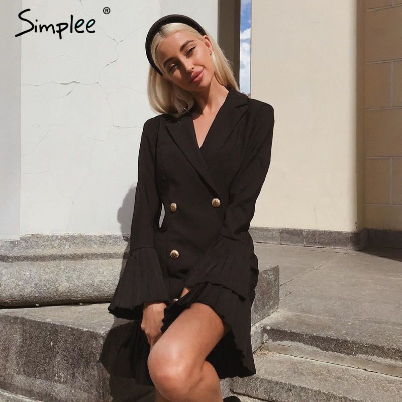 Simplee Ruffled Double Breasted Women Dress Office Ladies Casual Blazer White Dress Autumn Winter Slim Suit Female Dresses 2019