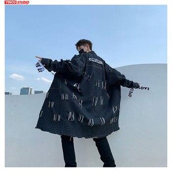 Dropshipping 2020 Autumn Lengthen Shredded Denim Coats Japanese Streetwear Windbreaker Jacket Male Baggy Demin Cloak
