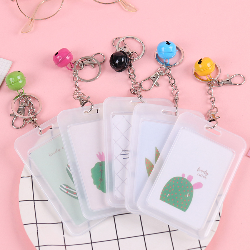 1PC Creative Transparent Key Ring Chain Set Cute Student ID Badge Document Sets Bus Card Cover Badge Holder Accessories