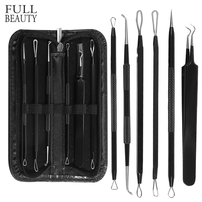 1set Black Dot Blackhead Remover Tweezers Needles For Acne Pimple Blemish High Quality Comedone Extractor Face Cleanser CHMP03-1
