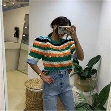Женские короткие свитера осенние корейские вязаные пуловеры