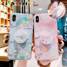 Flyvalley Laser Kickstand Marble Phone Cases For iPhone 11 Pro Max Case Soft Cover For iPhone XR XS Max 6 6S 7 8 Plus X Case laser marble finger ring holder phone cases for iphone 11 pro max case cover funda for iphone 7 8 6 6s plus xs max xr case coque