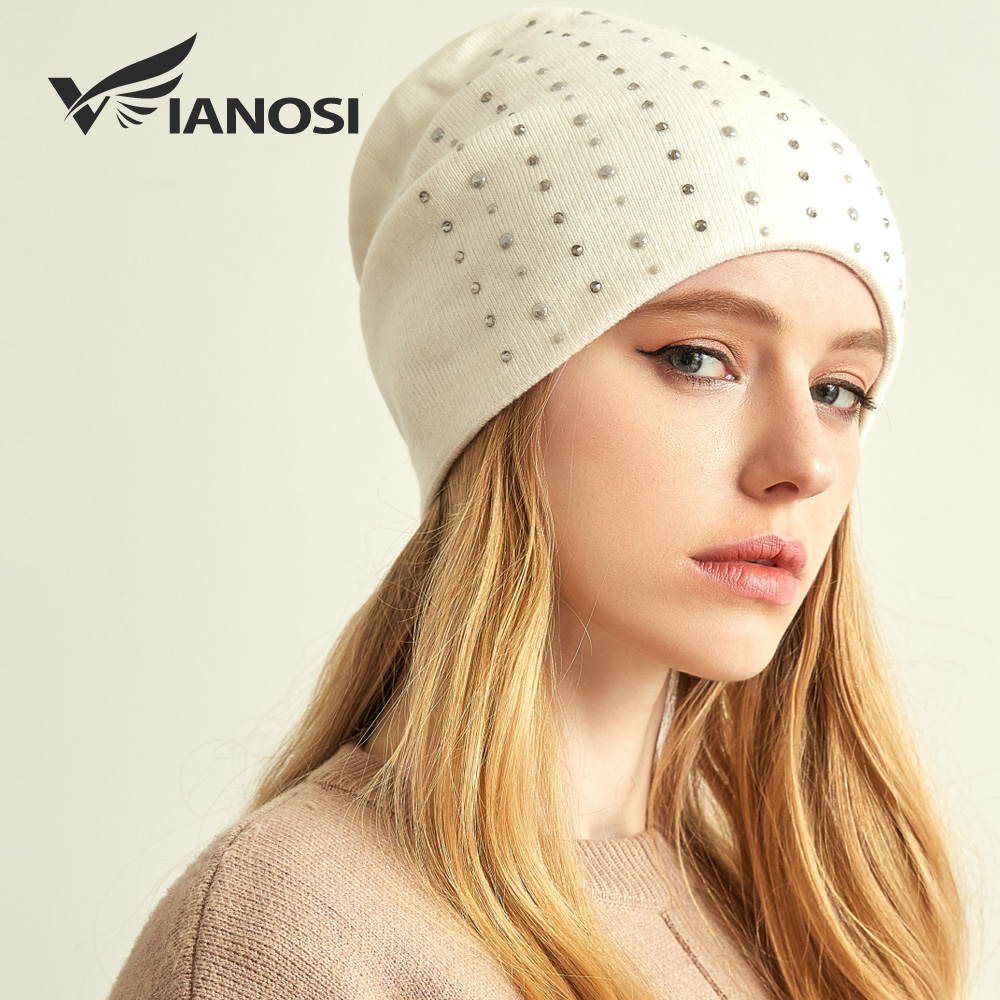VIANOSI Winter Wool Hats For Women Knitted Brand Hat Cap Warm Chunky Thick Stretchy Knit Beanies For Ladies