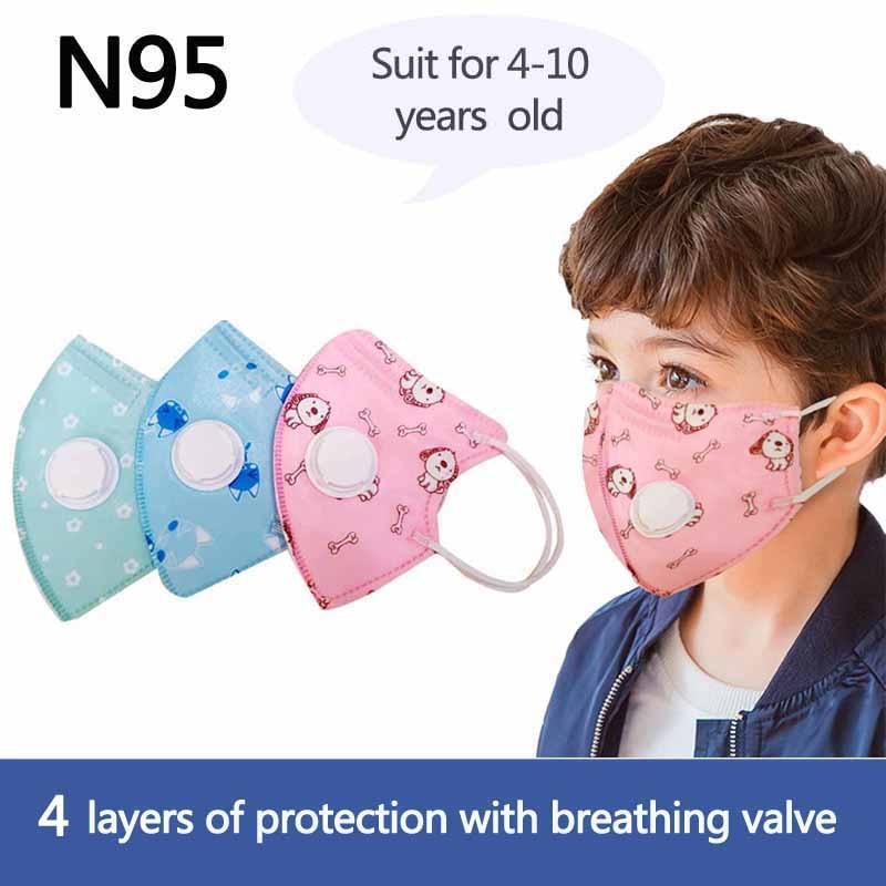 Kids N95 Mask Child Safety 4 Layer Protective Mask Anti Dust PM2.5 Masks Kn95 Respirator Filter Valve Child Face Mask