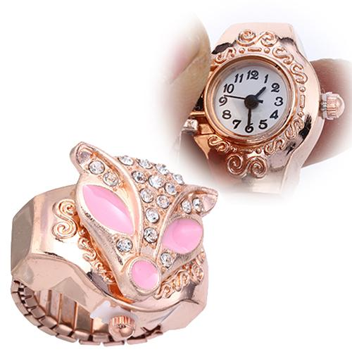 Girl's Lovely Palm Civet Pattern Case Rhinestone Elastic Quartz Finger Ring Lady Watch For Woman Relogio Feminino Quartz
