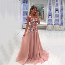 V Neck Lace Formal Dresses Embroidered Prom Dresses Tulle Long Aline Evening Dress Long Party Dress Embroidered Gowns Elegant plus embroidered fringe tie neck dress