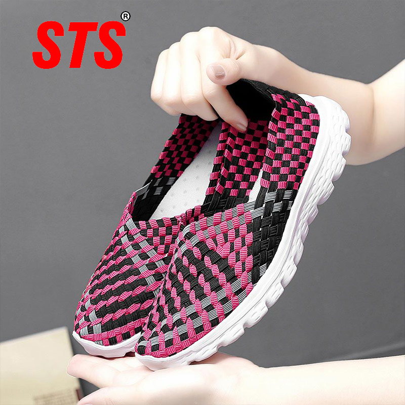 STS Women New Arrival Casual Shoes Ladies Colorful Woven Shoes Light Fashion Femmes Flats Sneakers For Females Big Size 35-40