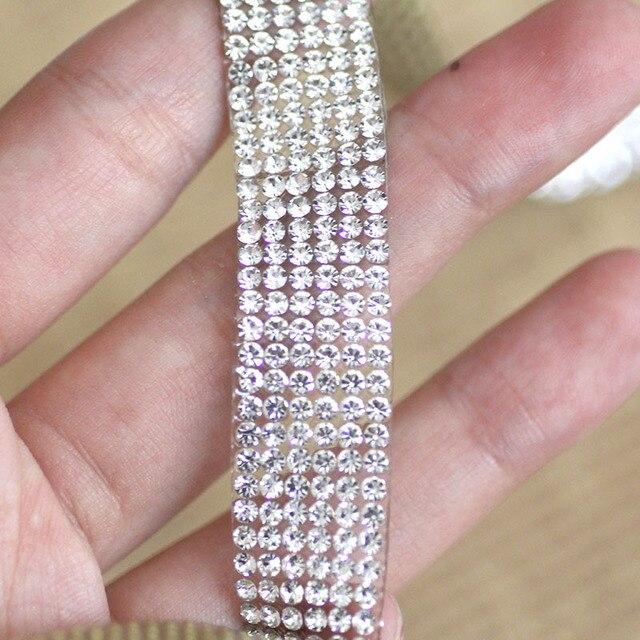 Chaîne de tasse avec strass cristal transparent | 1 cour, avec colle sur le dos, strass garniture strass pour bricolage, sacs pour chaussures de ceinture pour robe de mariée