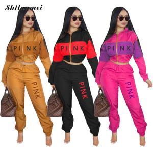 Fashion 2 Piece Set Pink Letter Print Tracksuits Women Zipper Coat And Pants Suit Sporty 2pcs Outfits Streetwear Matching Set