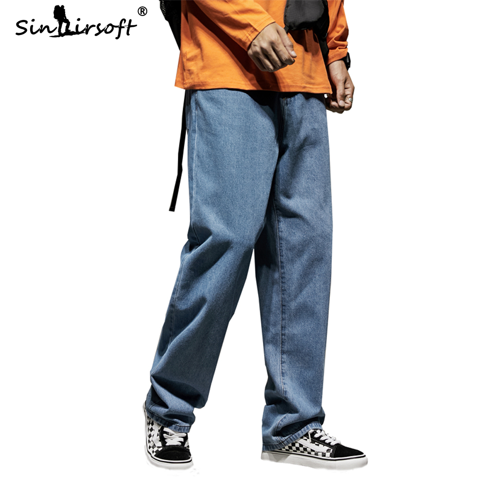 33 34 36 Denim Men's Loose Wide Leg Pants Casual Streetwear Autumn Fashion Trousers Men's Solid Large Pocket Ankle Length   Jeans