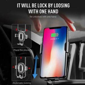 Image 3 - 10W Qi bezprzewodowa ładowarka samochodowa czujnik podczerwieni automatyczny uchwyt mocujący do iPhone 8 Plus Samsung S9 samochód szybkie ładowanie stojak na telefon