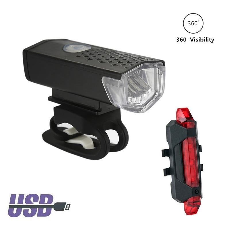 2pcs Bike Lights LED USB Rechargeable Waterproof 300 Lumens Bicycle Light Headlight+Taillight Cycling Light Bike Accessories