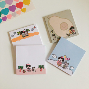 Korean Ins Cartoon Girl Memo Pad 50 Sheets Student Learning Small Notepad Diy Message Paper Planner Stickers Kawaii Stationery