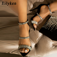 Eilyken cristal argent bride à la cheville sandales Sexy bout ouvert gladiateur fermeture éclair talons aiguilles sandales femme pompes Plus Size35-42