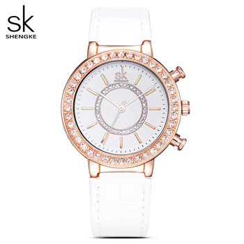 SK Women's Fashion Golden Wrist Watches Red Leather Watchband Top Luxury Brand Ladies Geneva Quartz Clock Female Wristwatch 2020 image