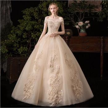 Mrs Win Wedding Dress 2019 New Sexy V-neck Ball Gown Off The Shoulder Princess Vintage Romantic Champagne Wedding Dresse G43