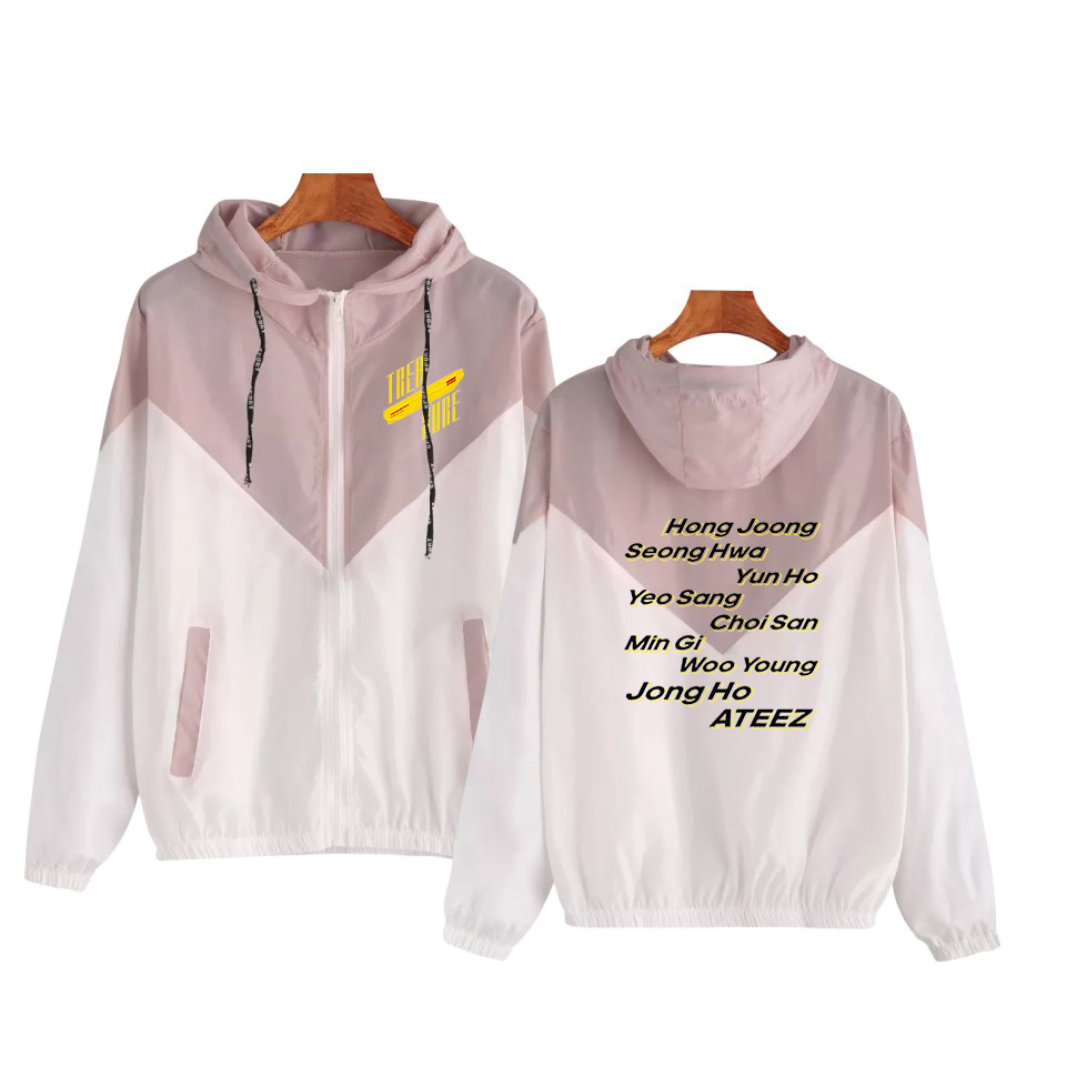 ATEEZ Cut And Sew Zip Up Hooded   Jackets   2019 Spring Autumn Women Coats And   Jackets   Young Pink Drawstring Korean Streetwear