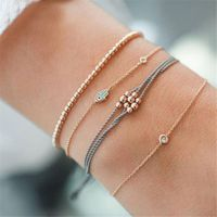 4Pcs Boho Summer Crystal Evil Eye Adjustable Open Bracelet Anklet Women Jewelry Y4QB