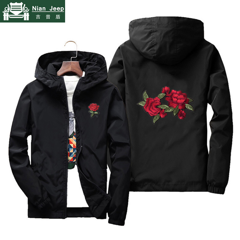 Rose Flower Embroidery Jacket Men Hooded Bomber Jackets Male Windbreaker Sunscreen Skin Men Jackets Plus Size S-7XL Dropshipping