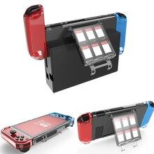 Clear crystal shell capa protetora ajuste carregador doca caso anti gota macio com slots de caixa de cartão de jogo para nintendos nintend switch