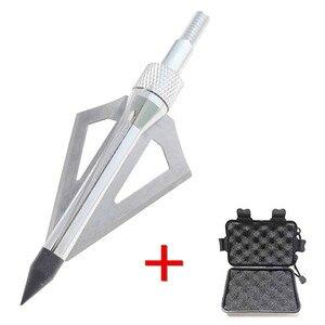 Image 2 - 12 pçs lâmina de tiro com arco flecha com 1pc broadhead caixa 3 fix lâmina 100gr pontas ponto alvo caça tiro seta acessórios