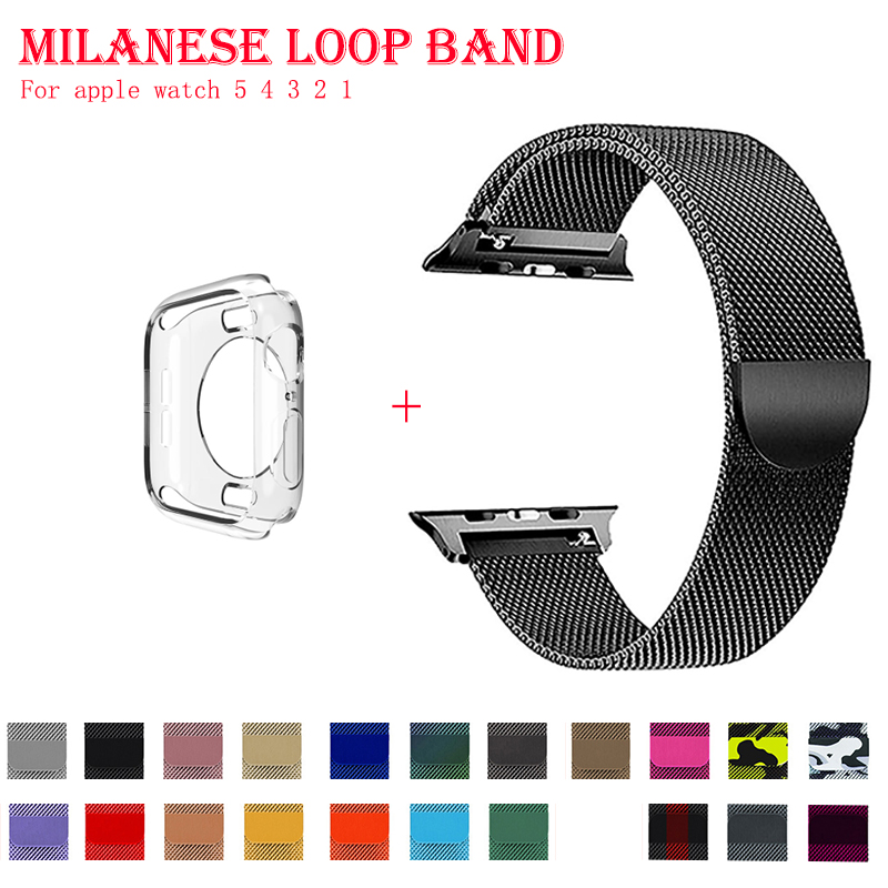 Band For Apple Watch 5 4 1/2/3 Milanese Loop Stainless Steel 42mm 38mm Bracelet Strap For Iwatch Series 40mm 44mm Case For Free